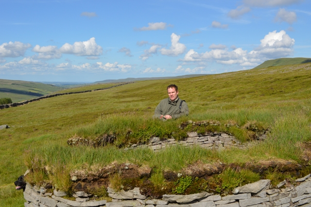 Stephen Mawle with one the grouse butts. Coverhead Farm and its wildlife are benefiting from a Higher Level Stewardship agreement with English Nature.