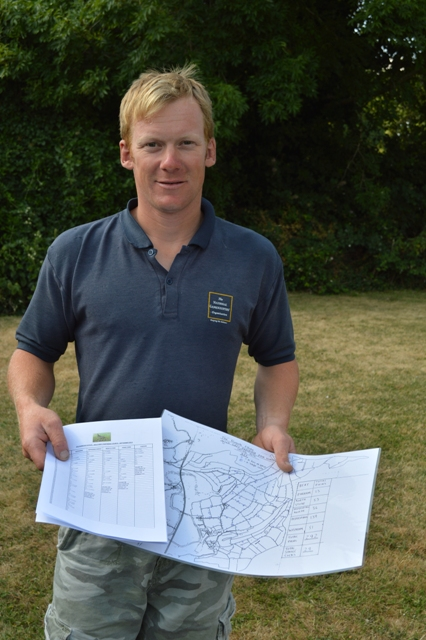 Gamekeeper Charlie Mellor with a map showing the precise location of 292 partridge nests. Ten years ago, there were just two nests in the same area.