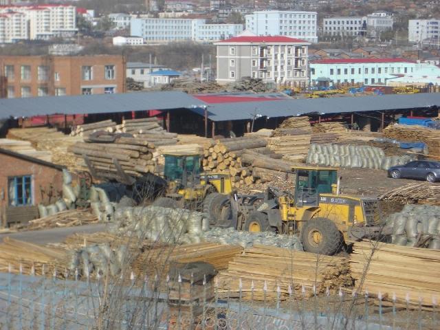 Logging yards in Suifenhe
